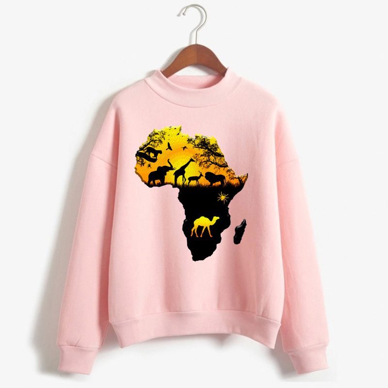 Africa Map Graphic Pullover For Women Harajuku African Heritage Female Sweatshirt Afro Word Print White Hoodie Tumblr Clothes