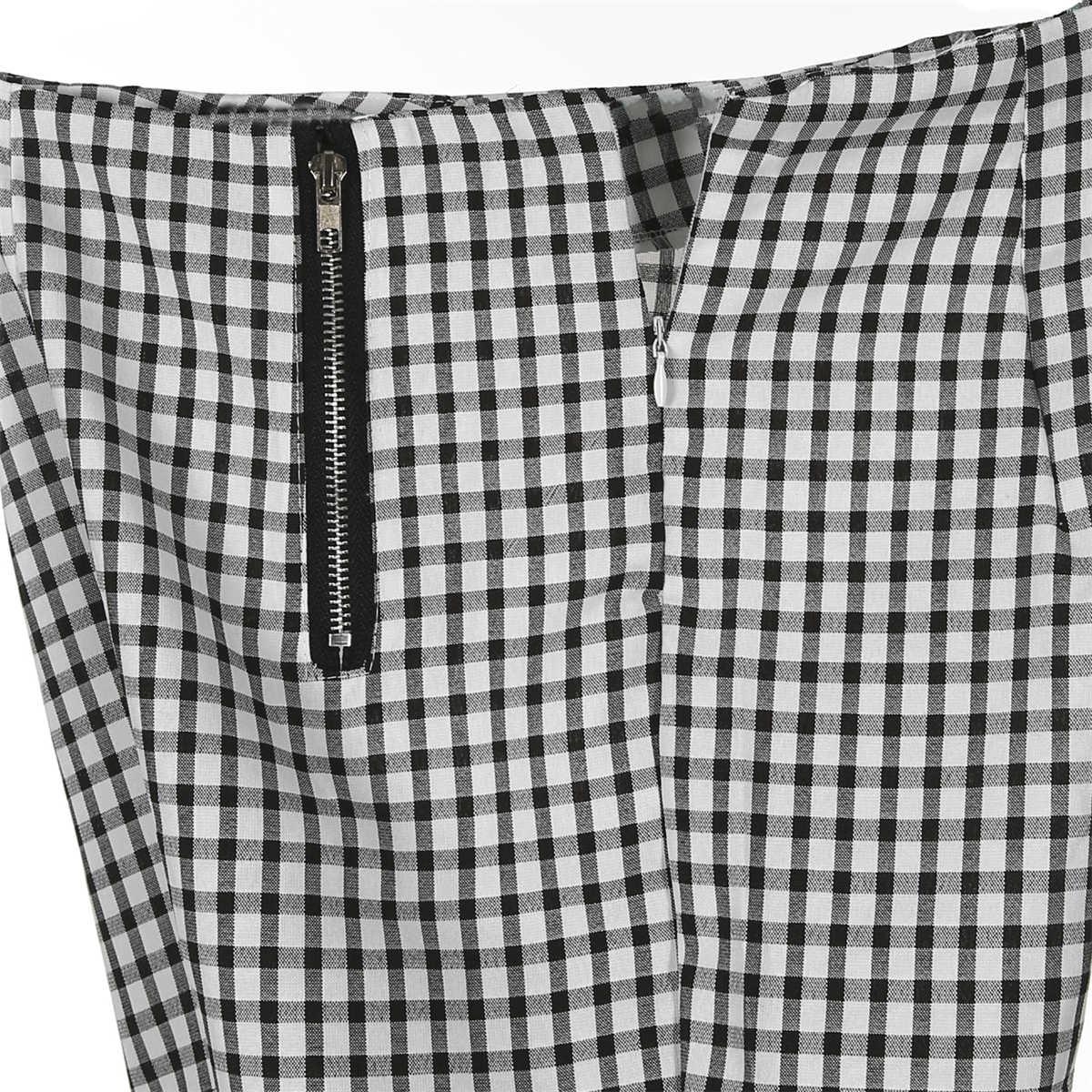 Ilkbahar sonbahar kadın Tartan ekose yüksek bel pantolon bayanlar kontrol Slim Fit ayak bileği uzunlukta fermuar düz pantolon