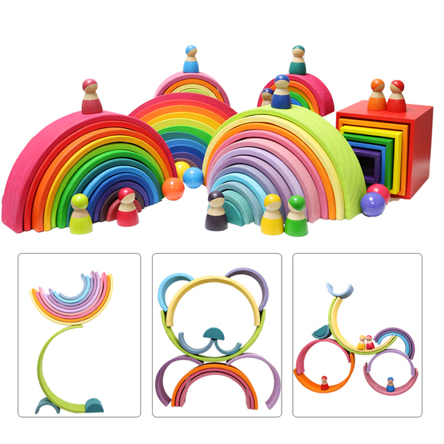 Baby Toys Large Size Rainbow Stacker Wooden Toys For Children Learning Building Blocks Creative Montessori Educational