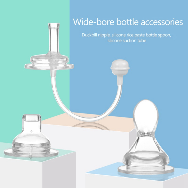 1PC Baby Bottle Accessories Set Silicone Nipple Wide Caliber Breast Nipple +Wide Mouth Bottle Nipples With Straw + S