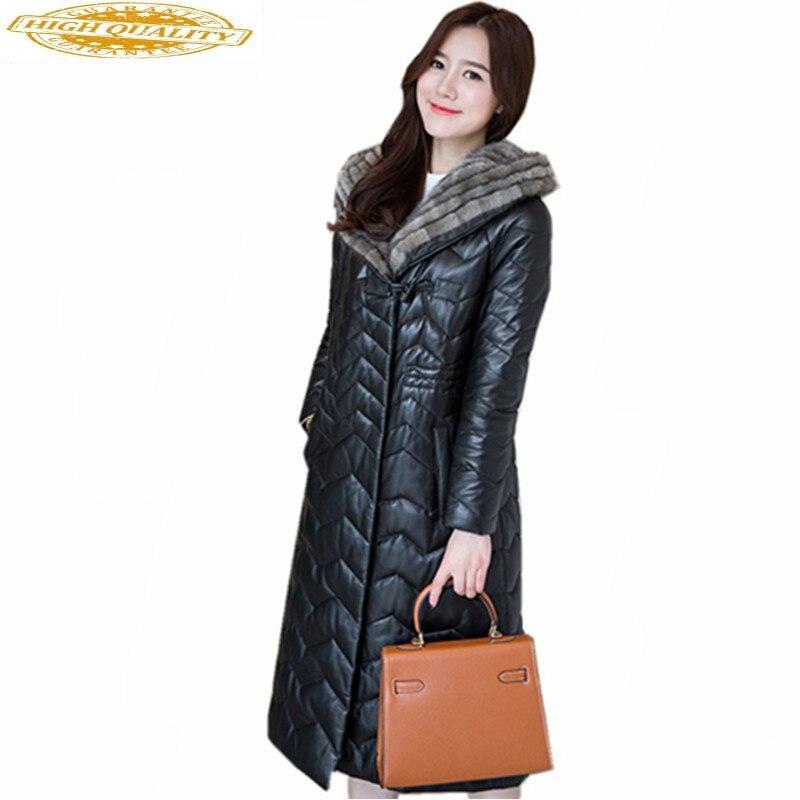 2019 Real Sheepskin Coat Female Genuine Leather Jacket Women's Mink Fur Collar Hooded Down Jackets Jaqueta Couro WXF266