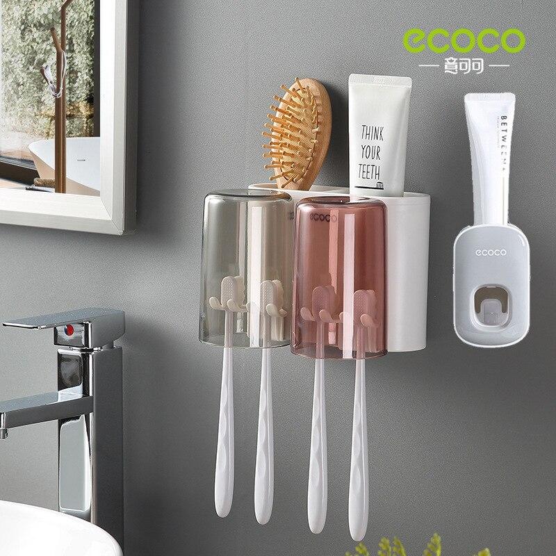 Dispensador de pasta de dentes automático montagem na parede suporte de escova de dentes à prova de poeira montagem na parede rack de armazenamento acessórios do banheiro conjunto squeezer