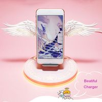 10W Universal Colorful LED Angel Wings Qi Wireless Charger Charge Dock For iPhone 8 Plus X XS MAX XR Mobile Phone Fast Charger 1