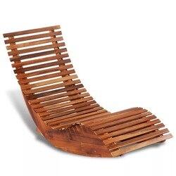Tumbona mecedora VidaXL de madera de Acacia, mecedora resistente a la intemperie de 149X60X86 Cm adecuada para uso en interiores y exteriores