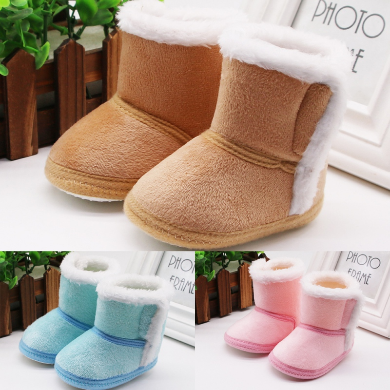 Winter Newborn First Walkers Baby Girls Shoes Baby Snow Boots Super Warm Prewalkers Soft Sole No-slip Booties New
