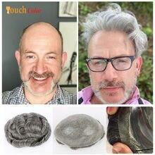 Erkek saç parçaları ünitesi peruk erkekler ince deri tabanı adam saç değiştirme sistemi ünitesi gölgeli insan saçı doğal peruk hint Remy saç