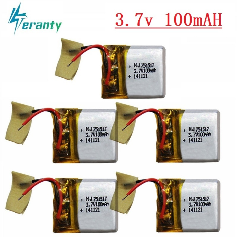 <font><b>3.7v</b></font> <font><b>100mah</b></font> Li-po <font><b>battery</b></font> for Cx10 CX-10 CX-12 JJ810 820 828 V646 2.4g Rc Quadcopter Spare Parts 5cs/lot <font><b>3.7v</b></font> <font><b>Battery</b></font> 751517 30C image
