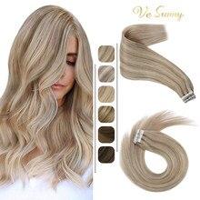 VeSunny bant saç ekleme gerçek insan saçı cilt atkı Balayage görünmez tutkal makinesi Remy saç 2.5 g/adet sarışın