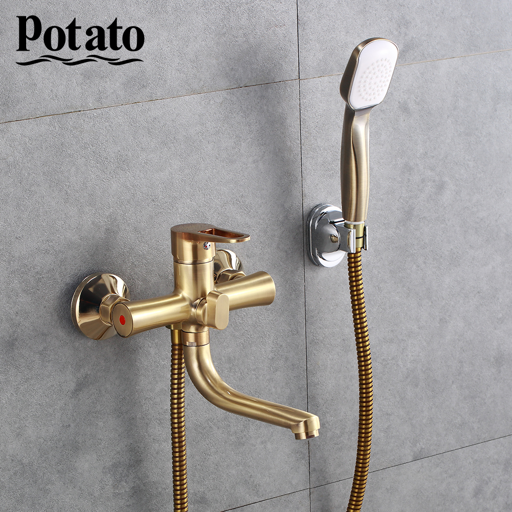 Potato Bathroom Faucet 5 Colors Water Mounted Bathtub Long Water Outlet Tube 90 Degree Hot Cold Potato Bathroom Faucet 5 Colors Water Mounted Bathtub Long Water Outlet Tube 90 Degree Hot Cold Water Mix Tap Shower Set p30270-