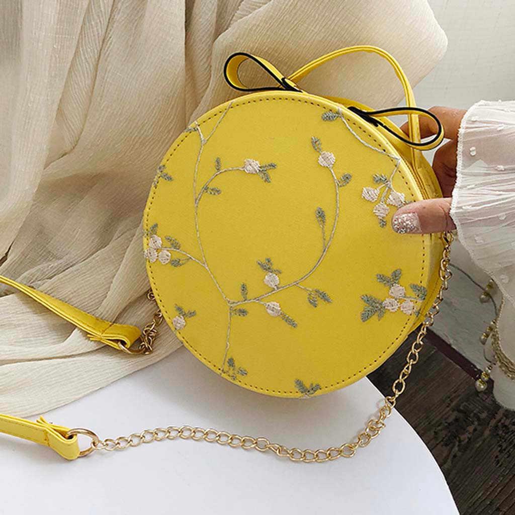 Venda quente doce laço redondo bolsas de alta qualidade couro do plutônio das mulheres crossbody sacos feminino pequeno fresco flor corrente ombro # p30