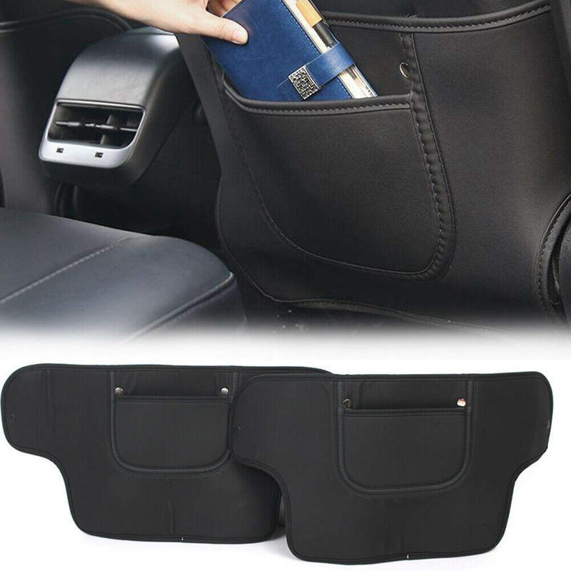 for Tesla Model 3 Seat Back Mat Storage Box Anti-Kick Pad Leather Rear Seat Back Protection Pedal Interior Accessories