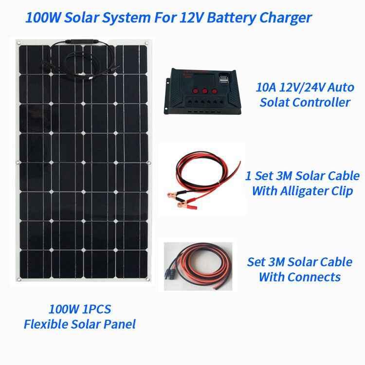 100 W Flexible Semi Panneau Solaire Batterie Chargeur Kit 20 A Contrôleur PWM Voiture Bateau