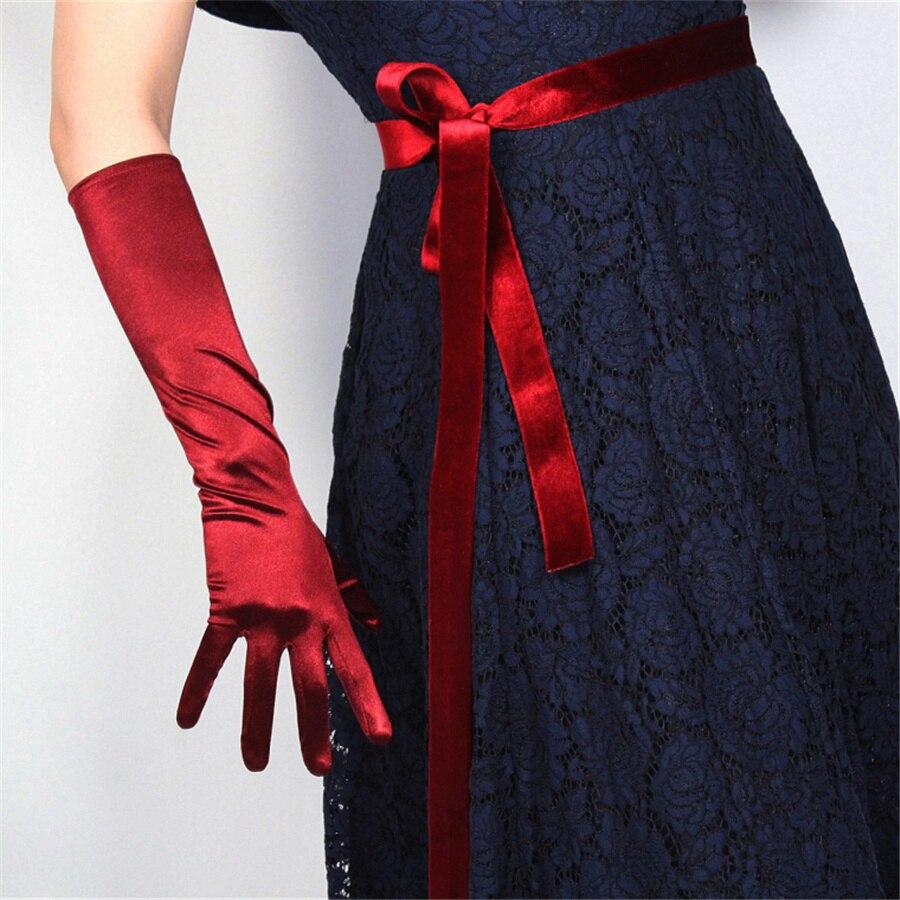 Silk Gloves 38cm Elastic Silk Satin Black White Medium Length Female Sunscreen Gloves SCH38
