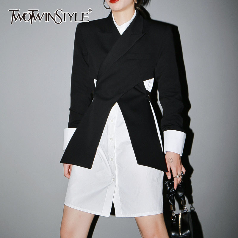 TWOTWINSTYLE Casual Sexy Waistless Women Blazer Notched Long Sleeve Split Tunic Slim Suit Female Fashion Clothes Spring 2020 New