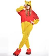 Winnie Unisex Adult One-Piece Pajamas Cosplay Onesies Large Cartoon One-piece Animal Sleepwear Pyjamas Christmas Costume