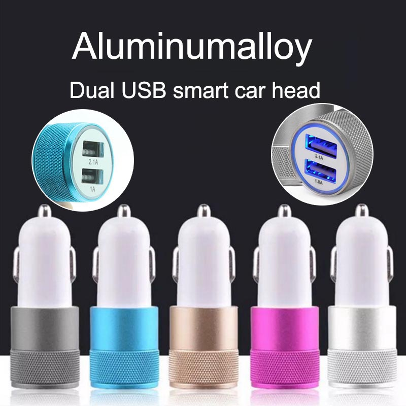 Double USB Ports 2.1A 1A 5V Car Charger Alloy Universal Durable Fast Phone Charging for iPhone Samsung Xiaomi Car accessories