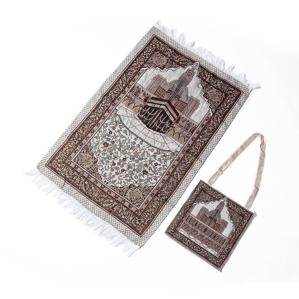 110x70cm Prayer Rug With Bag Soft Blanket Home Christmas  Gift Islamic Muslim Mat Tassel Tapestry Decoration Carpet Bedroom