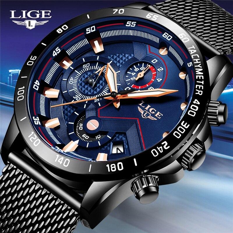 Relojes hombre lige 하이 엔드 디자인 비즈니스 쿼츠 시계 남성 메쉬 전체 스틸 방수 스포츠 크로노 그래프 남성용 시계 남성-에서수정 시계부터 시계 의