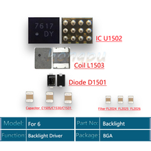 5 مجموعة/وحدة (50 قطعة) الضوء الخلفي سائق IC آيفون 6 الخلفية عدة IC U1502 + لفائف L1503 + ديود D1501 + مكثف C1530 تصفية FL2024
