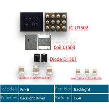 5 סט\חבילה (50pcs) בחזרה אור נהג IC עבור iphone 6 תאורה אחורית ערכת IC U1502 + סליל L1503 + דיודה D1501 + קבלים C1530 מסנן FL2024