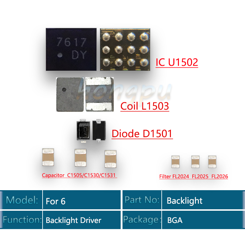 5set/lot (45pcs) Back Light Driver IC For Iphone 6 Backlight Kit IC U1502+Coil L1503 +diode D1501 +Capacitor C1530 C1531 C1505 Filter FL2024-FL2025 FL2026