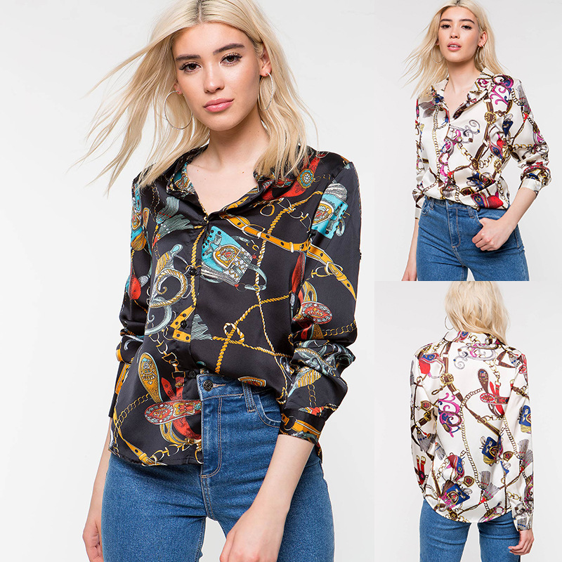 European and American fashion spring new women's clothing Blouses Printed personality shirt plus size  womens tops