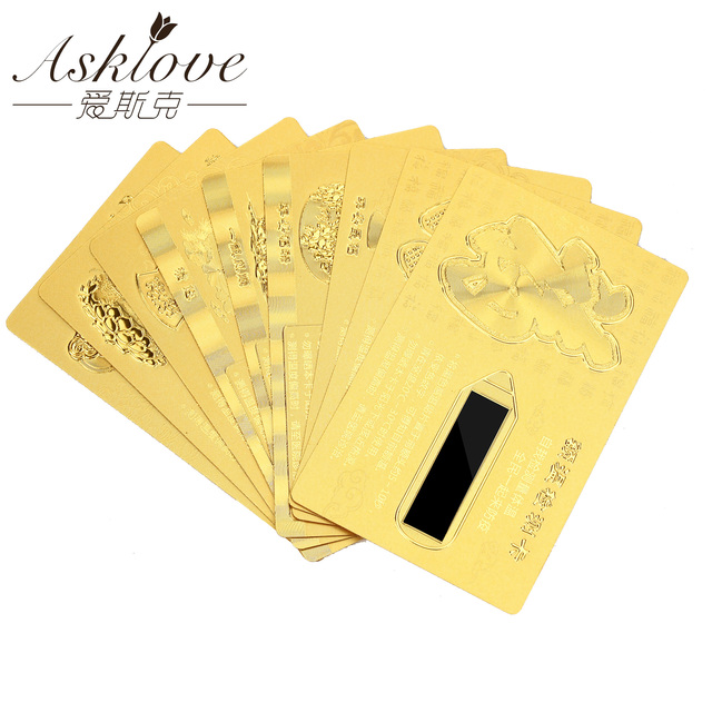 10 sztuk Feng Shui Guanyin karty Amulet błogosławieństwo Fortune karty czoło wykrywania temperatury karty złota FU karty Party prezenty Amulet