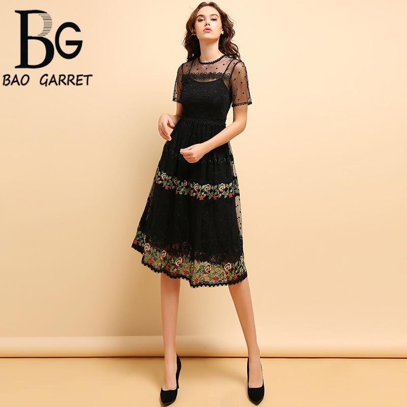 Baogarret Spring Summer Fashion Dress Womens Floral Embroidery Mesh Overlay Elegant Vintage Ladies Holiday Midi Dresses