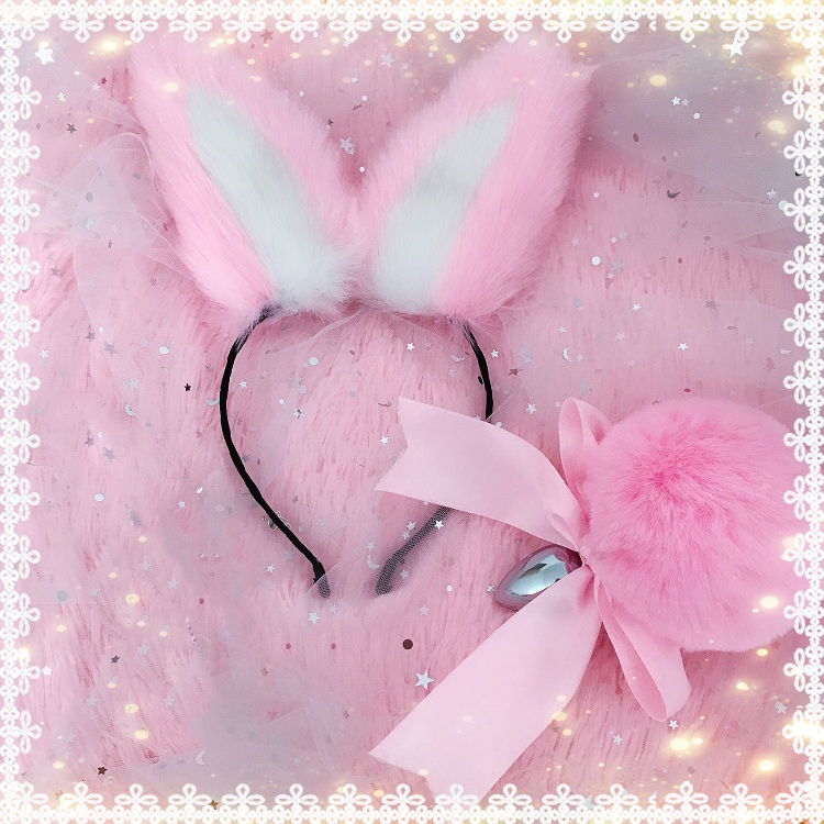 Cute Soft Rabbit Ear Headband Fluffy Rabbit Bow Tail Plug Metal Anal Plug Erotic Cosplay Accessories Adult Sex Toy For Couple