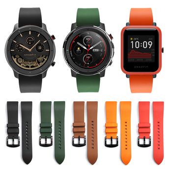 22 20mm Fluorine Rubber Strap for Xiaomi Huami Amazfit Watch Silicone Band Watchband for Amazfit Stratos 3 GTR GTS Bip Bracelet