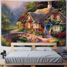 妖精物語コテージ森タペストリー壁掛けボヘミアアートプリントタペストリールーム家の装飾ヒッピーパターン