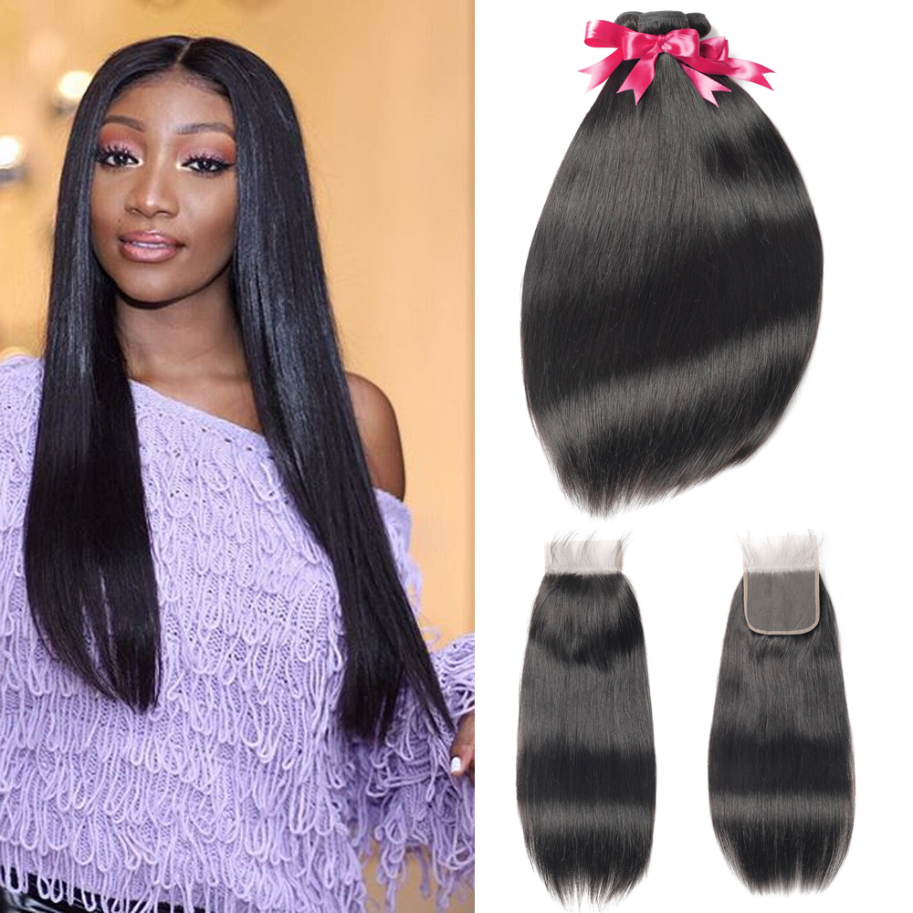 Peruvian Human Hair 3 Bundles With Lace Closure 4x4 Lace Closure With Baby Hair #4 #2 Middle Brown Hair Silky Straight 8-24 INCH