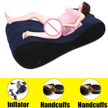 Hot 2019 Flocking Inflatable Sofa Bed Sex Toys for Couples Love Sex Chair Pillow Adult Sex Furniture SM Games Furniture Erotic