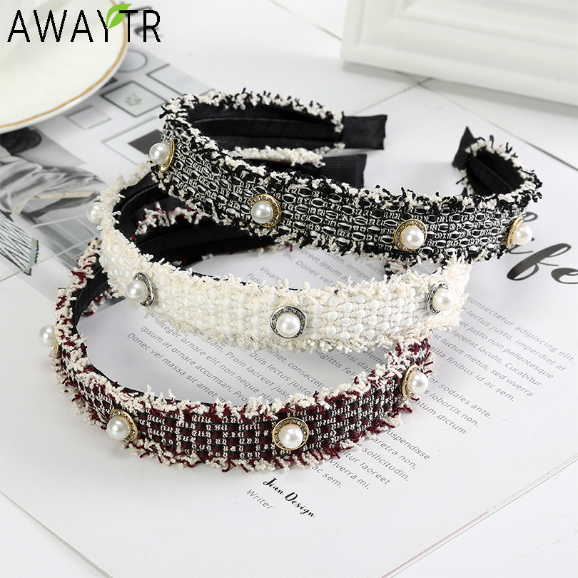 AWAYTR Women Fashion Pearls Headband Soft Bohemia Bow Hairband Fixed Hair Hoop Band Autumn Women Hair Band Gils Hair Accessories