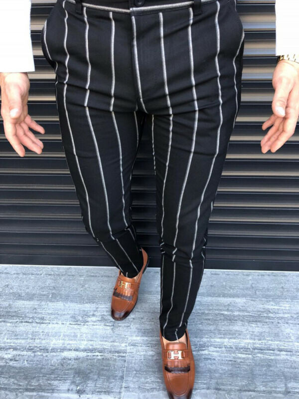 2019 Fashion Business Trousers Men Casual Slim Fit Skinny Business Formal Suit Dress Pants Slacks Trousers New Stripes Pants
