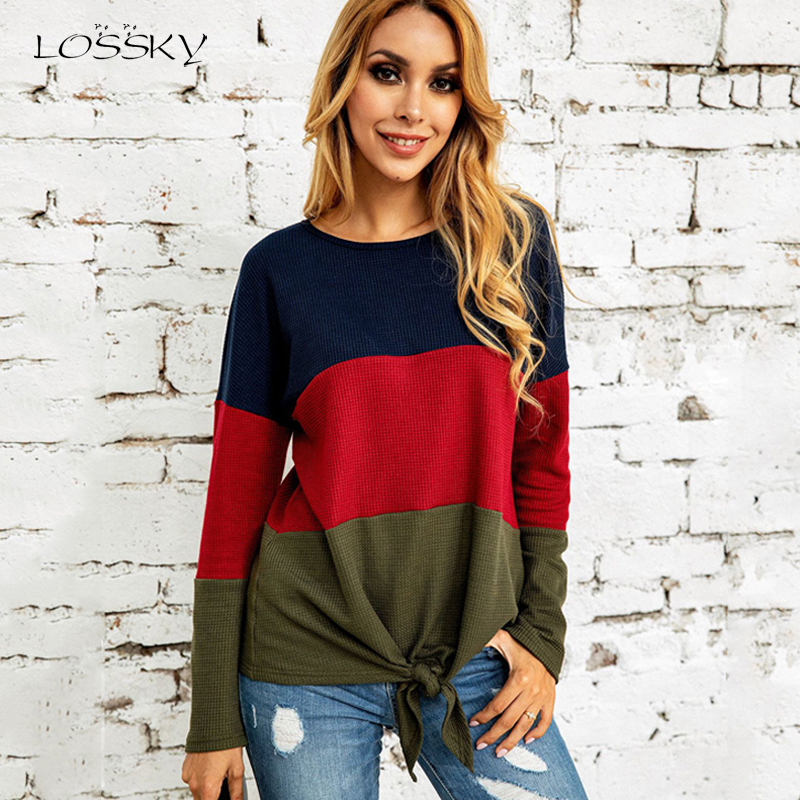 Lossky T Shirt Tee Tops Women Long Sleeve 2019 Autumn Patchwork Leisure Knitwear Fashion Ladies Casual Fall Loose Femme Clothes