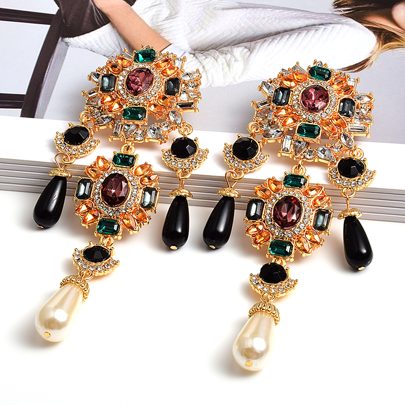 New Bohemian Vintage Metal Colorful Crystals Dangle Drop Earrings Hanging Pearls Fine Rhinestone Jewelry Accessories For Women