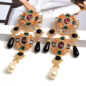 New Bohemian Vintage Metal Colorful Crystals Dangle Drop Earrings Hanging Pearls Fine Rhinestone Jewelry Accessories For Women za new bird shaped colorful rhinestone metal long dangle drop earrings fine crystals chain tassels jewelry accessories for women