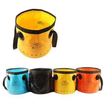 Cubo plegable portátil para llevar peces de 10/20L, bolsas de PVC para almacenar agua, accesorios de pesca, aparejos con mango