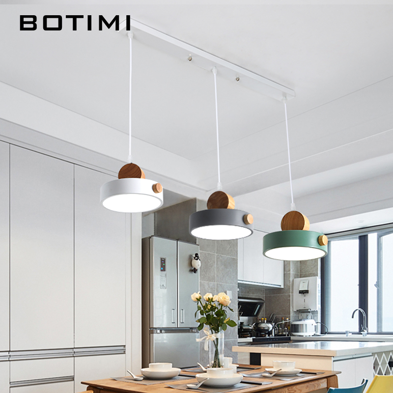 BOTIMI Nordic LED Pendant Lights With Metal Lampshade For Dining Room 220V Cord Hanging Lamp Restaurant Lighting Fixture
