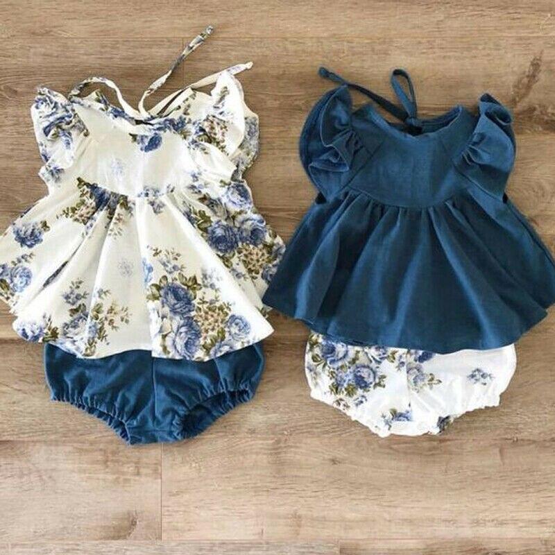 Bebê recém-nascido menina verão floral topos vestido + calças curtas roupas nos