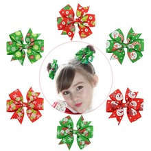 3 6pcs Christmas Bows With Clip For Kid Girl Bowknot Headwear Decoration Party Emblishment Hair Accessories Xmas New Year Gift