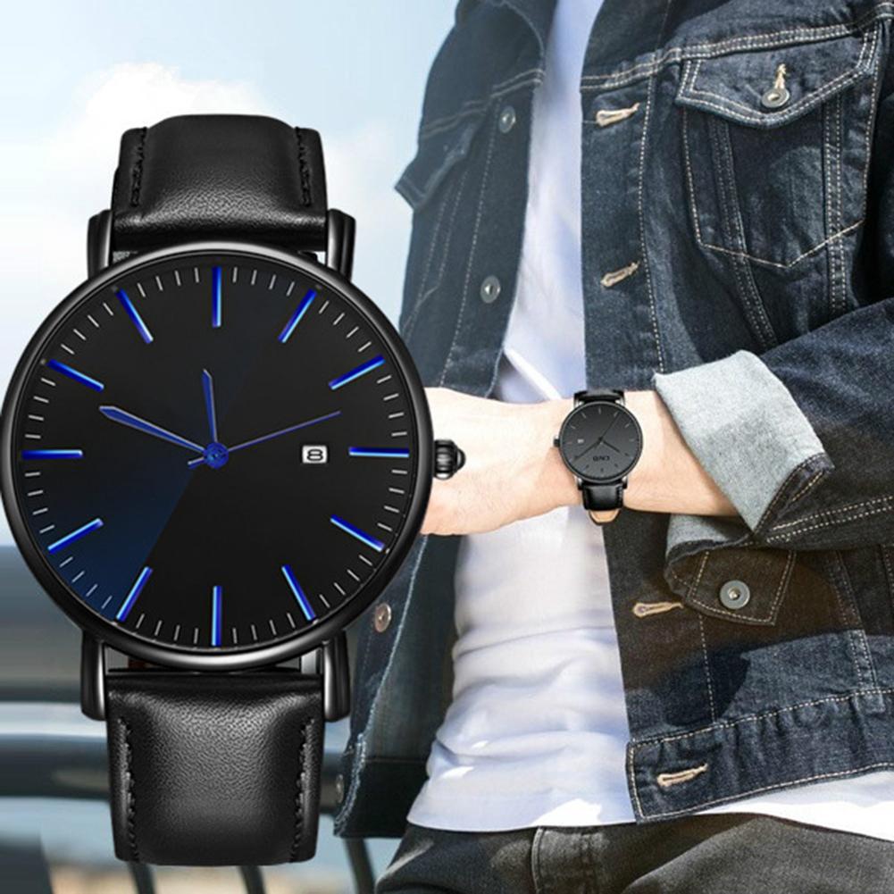 Business Men Wrist Watch Calendar Round Dial Minimalist Faux Leather Band Quartz