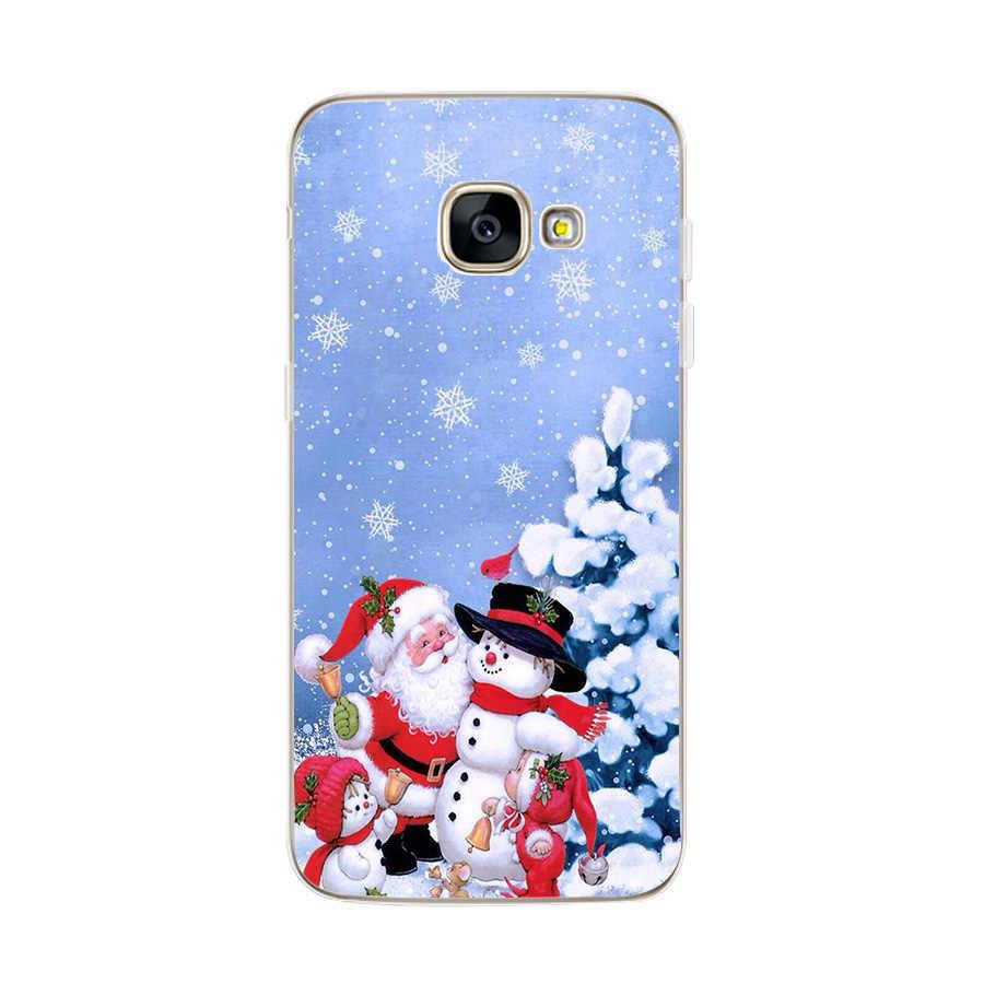 Merry Christmas hediyeler Coque Samsung Galaxy A7 A5 A8 artı 2018 S10 artı Lite A50 A20 A30 A 50 2019 noel baba yeni yıl davası