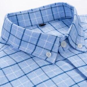 Image 3 - Mannen 100% Katoen Geborsteld Flanel Plaid Geruite Shirt Lange Mouw Standaard Fit Comfortabele Warm Casual Button Kraag shirts