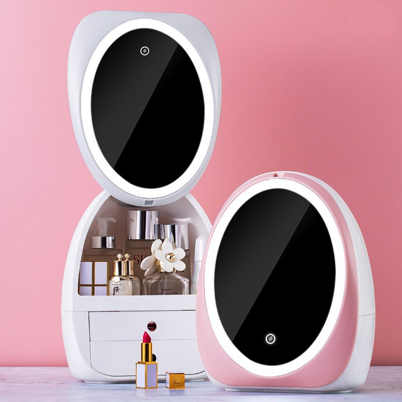 Egg Shape LED Light Desktop Organizer HD Mirror Makeup Organizer Creative Cosmetic Storage Box Protable Beauty Box Dropshipping