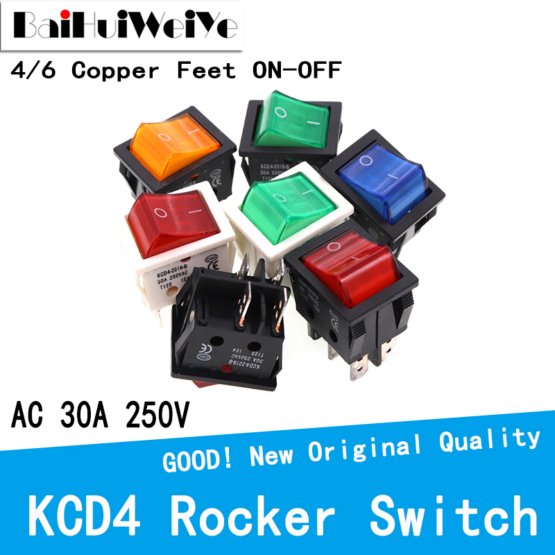 2PCS KCD4 Rocker Power Switch With Led 4Pin 6Pin ON-OFF AV 30A 250V High Current Special for Welding Machine 25*31MM button