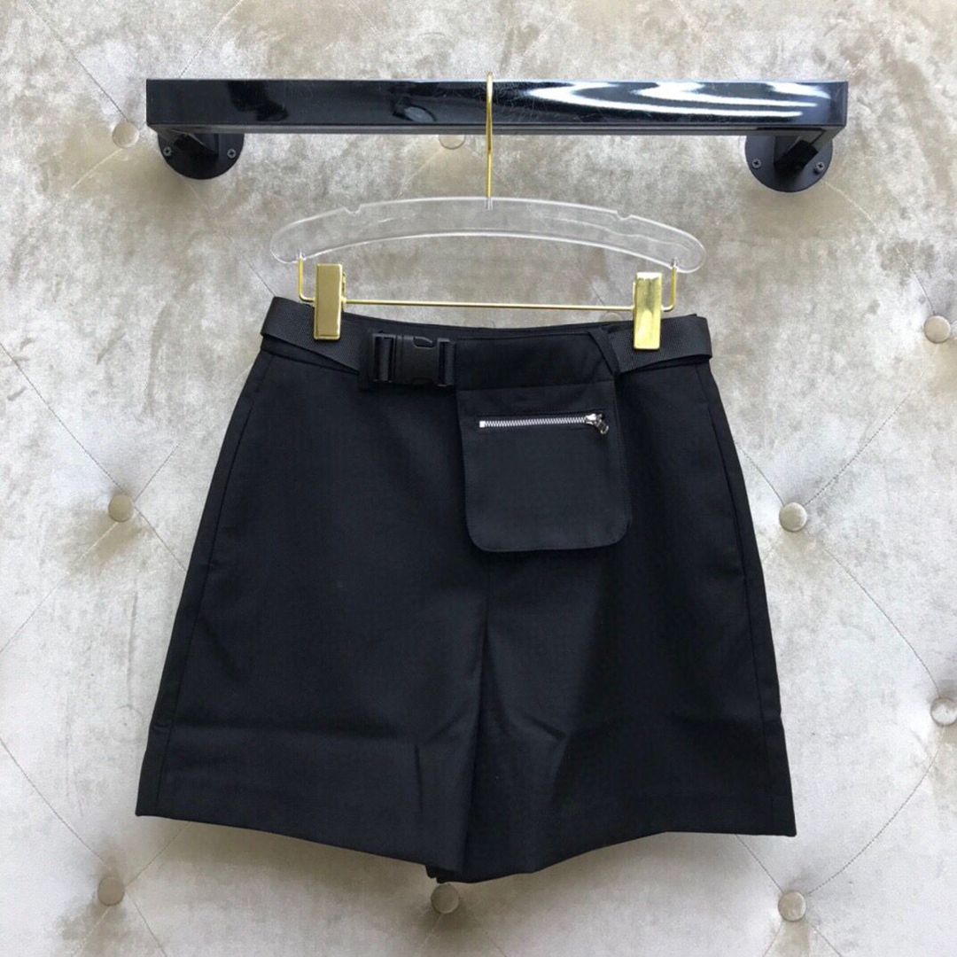 2020 new high-end luxury belt bag decoration casual women preppy style streetwear solid color zipper high waist shorts 1