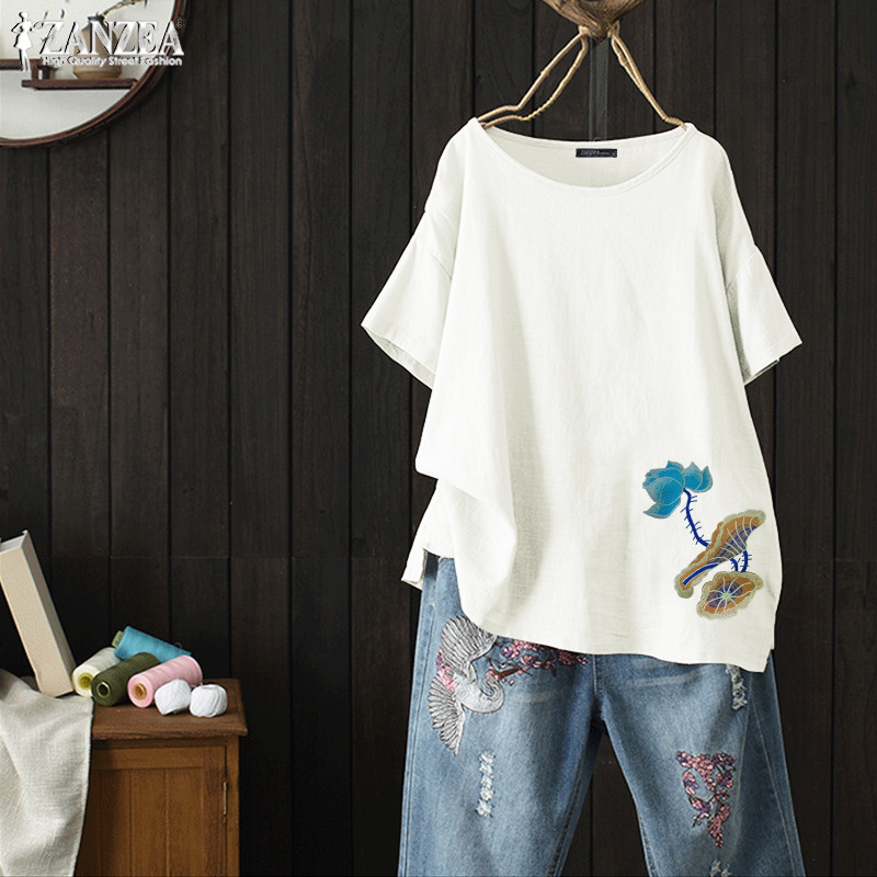 2020 ZANZEA Vintage Embroidery Tops Women's Summer Shirts Casual Short Sleeve Blouse Female O Neck Floral Blusas Plus Size Tunic