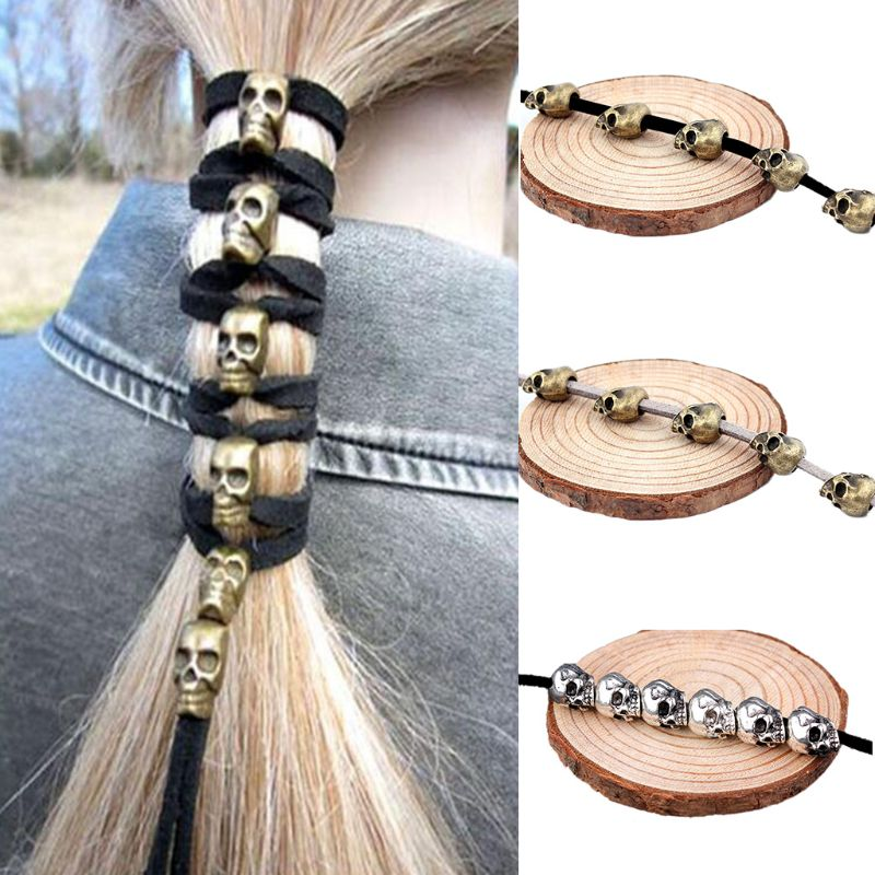 Cool Women Girls Skull Shape Headband DIY Halloween Hair Accessories Ponytail Punk Antique Copper Tied Head Rope Tiara